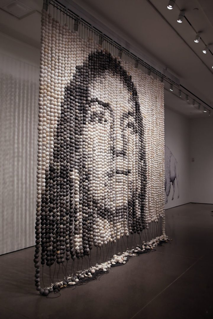 """Installation view of Cannupa Hanska Luger's """"Every One"""" from the Galleries of Contemporary Art at University of Colorado, Colorado Springs"""