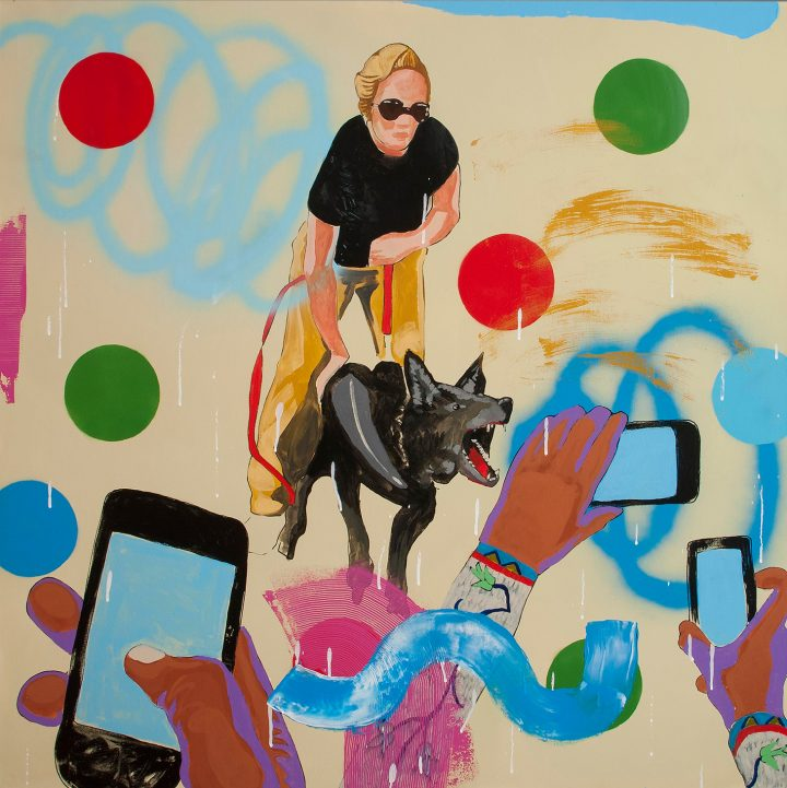 """Frank Buffalo Hyde's """"Counting Coup #nodapl"""" appeared in his recent solo show, I-Witness Culture at the Museum of Indian Art and Culture"""