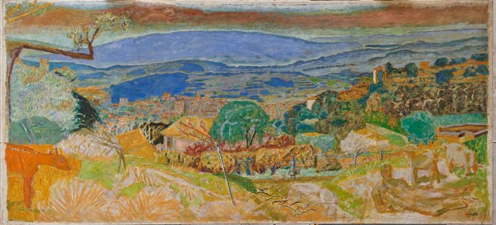 """Pierre Bonnard, """"Landscape at Le Cannet"""" (1928), oil on canvas, 50 3/8 x 109 ½ in., signed (lower right) """"Bonnard"""" (image courtesy of The Kimbell Art Museum)"""