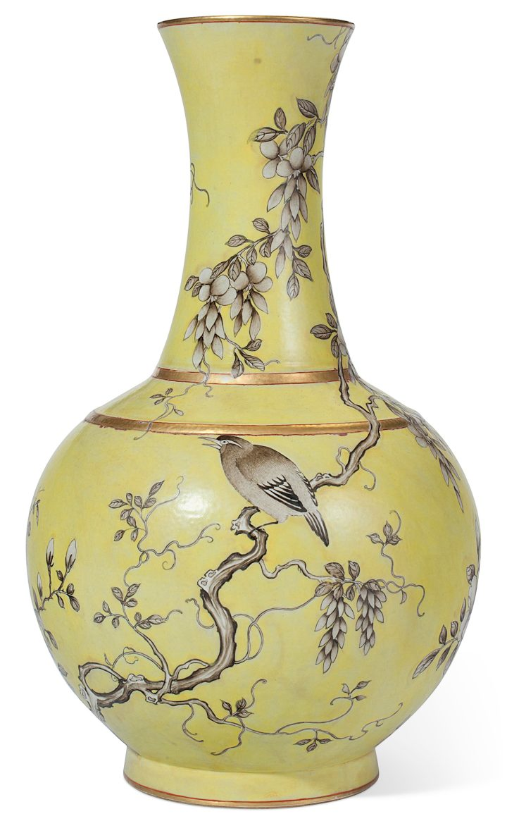 A Chinese Dayazhai en Grisaille decorated yellow-ground vase, late 19th/early 20th century (image courtesy of Christie's)