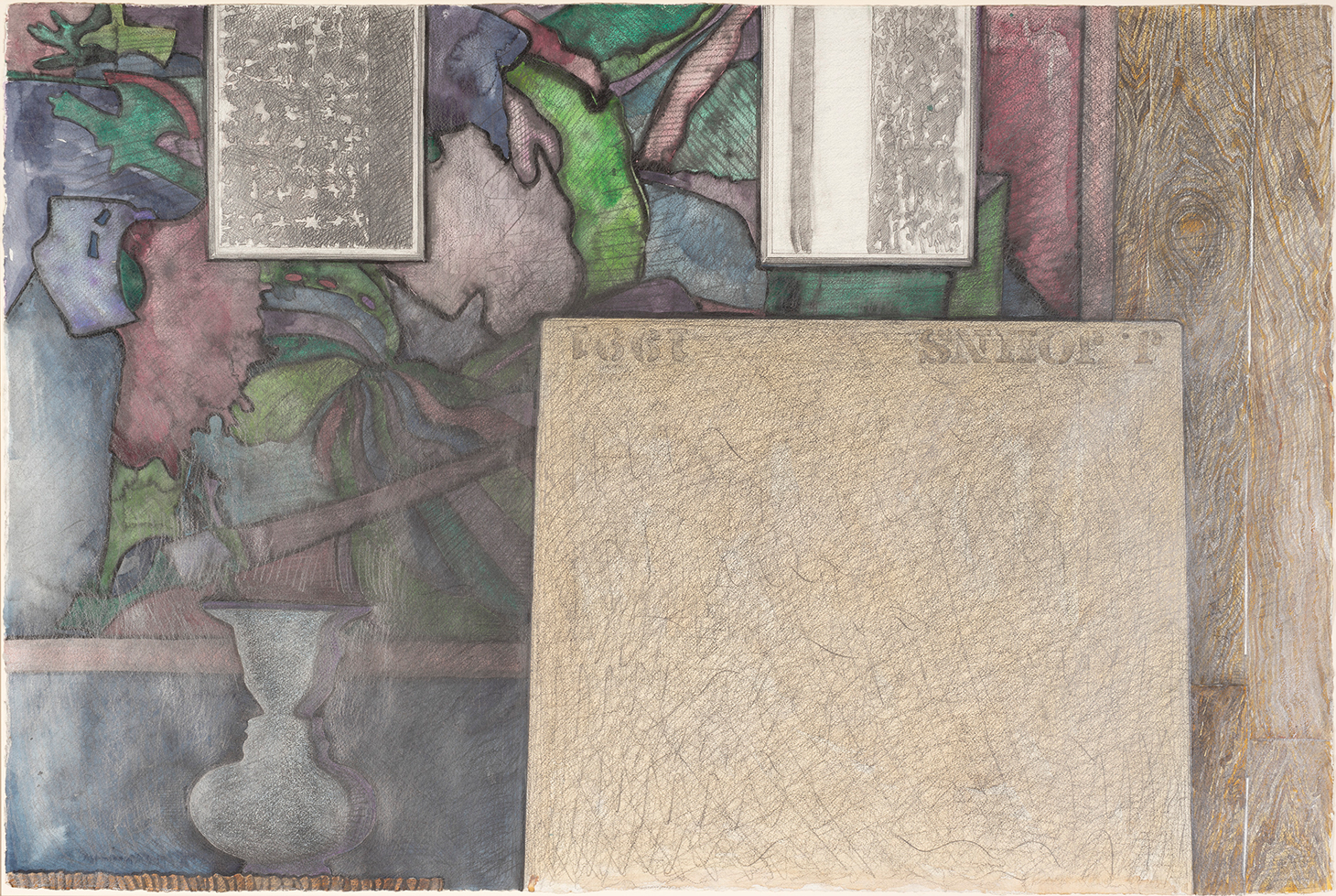 """Jasper Johns, """"Untitled""""(1991), watercolor, pencil, and graphite on paper, 27 1/2 x 41 in. Artwork © Jasper Johns / Licensed by VAGA at Artists Rights Society (ARS), New York (photo by Kris Graves)"""