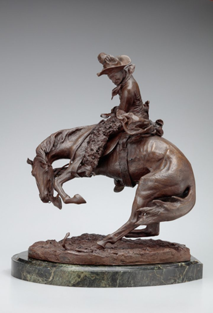"""Frederic Remington, """"The Rattlesnake"""" (1906), bronze, 23 1/8 x 17 3/4 x 14 1/2 in, collection of the Newark Museum, Gift from the Charles A. Serventi Collection, 2017 (image courtesy of the Newark Museum)"""