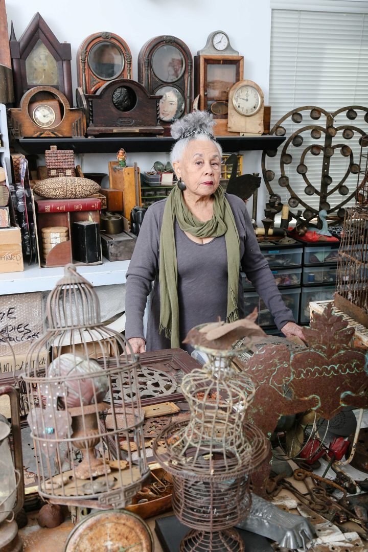 Betye Saar in her Los Angeles studio, 2015 (photo by Ashley Walker, image courtesy the artist and Roberts Projects, Los Angeles)