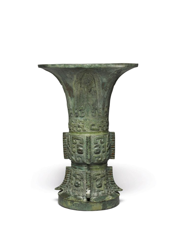 An Archaic Bronze Ritual Vessel (Zun), Shang Dynasty, Yinxu Period, height 13 5/8 inches (image courtesy Sotheby's)