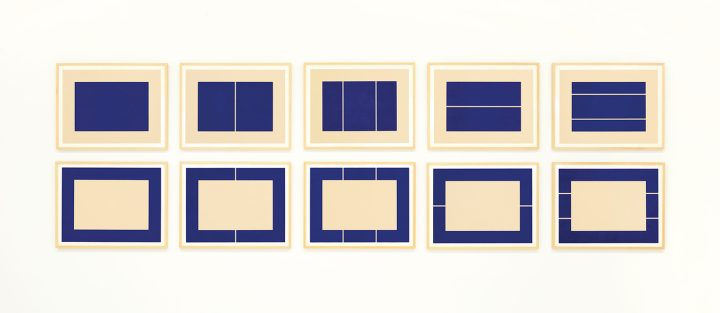 """Donald Judd, """"Untitled"""" (1988), the complete set of ten woodcuts printed in ultramarine blue, on Okawara paper, published by Brooke Alexander Editions, New York, printed by Derrière L'Etoile Studios, New York, the full sheets, in excellent condition, framed, sheets 600 x 800 mm. each (image courtesy Christie's)"""
