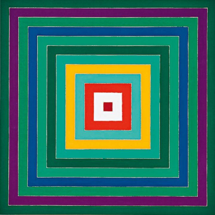 "Frank Stella, ""Scramble: Descending Green Values/Descending Spectrum"" (1977), acrylic on canvas, 69 x 69 inches (image courtesy Sotheby's)"