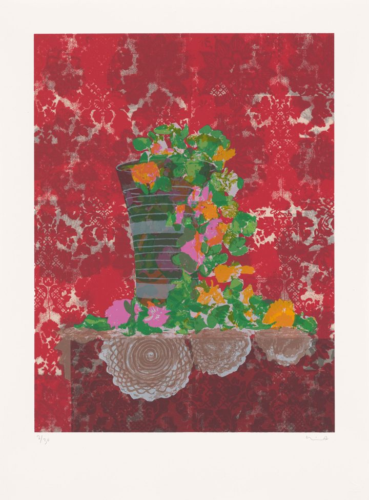 """Hurvin Anderson, """"Still Life with Artificial Flowers"""" (2018), screenprint, edition of 30 (image courtesy the Government Art Collection)"""