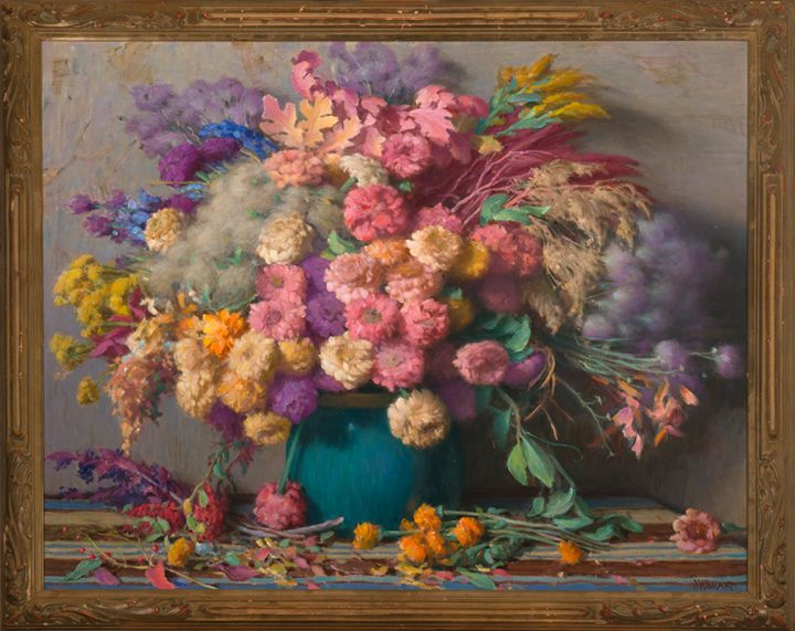 """Joseph Henry Sharp, """"Dry Flowers"""" (c. 1935), oil on canvas, gift of Lore Thorpe in memory of Kathryn V. Thorpe (image courtesy New Mexico Museum of Art)"""