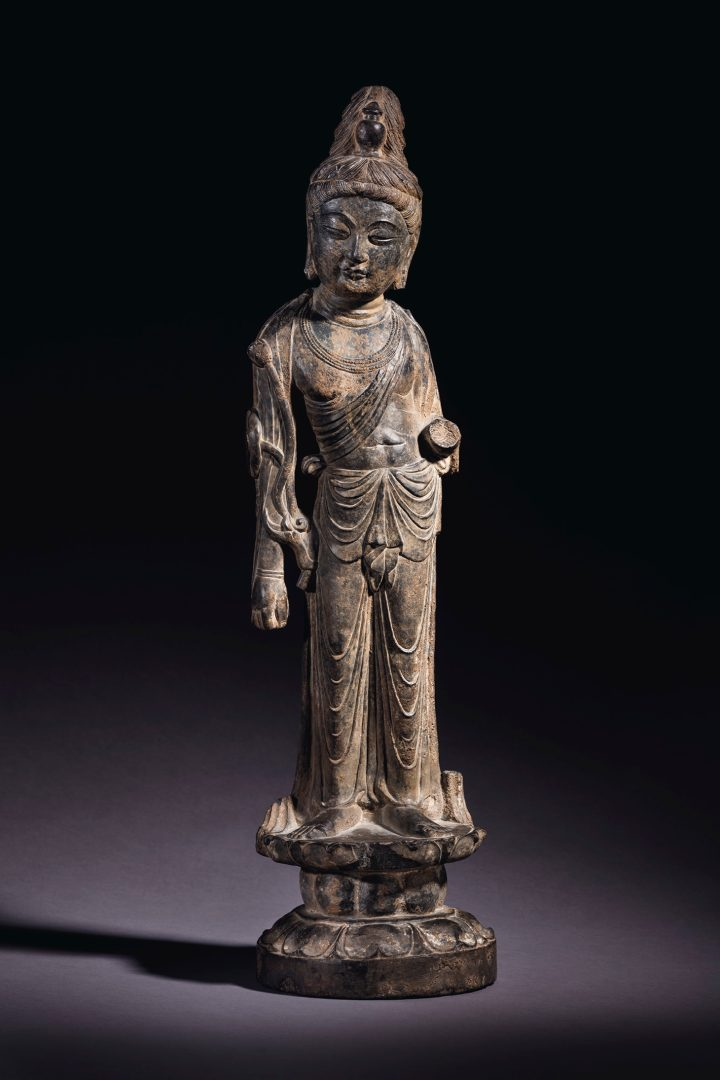An important and very rare grey limestone figure of Mahasthamaprapta (early Tang Dynasty, eighth century), 26 3/8 inches high (image courtesy Christie's)
