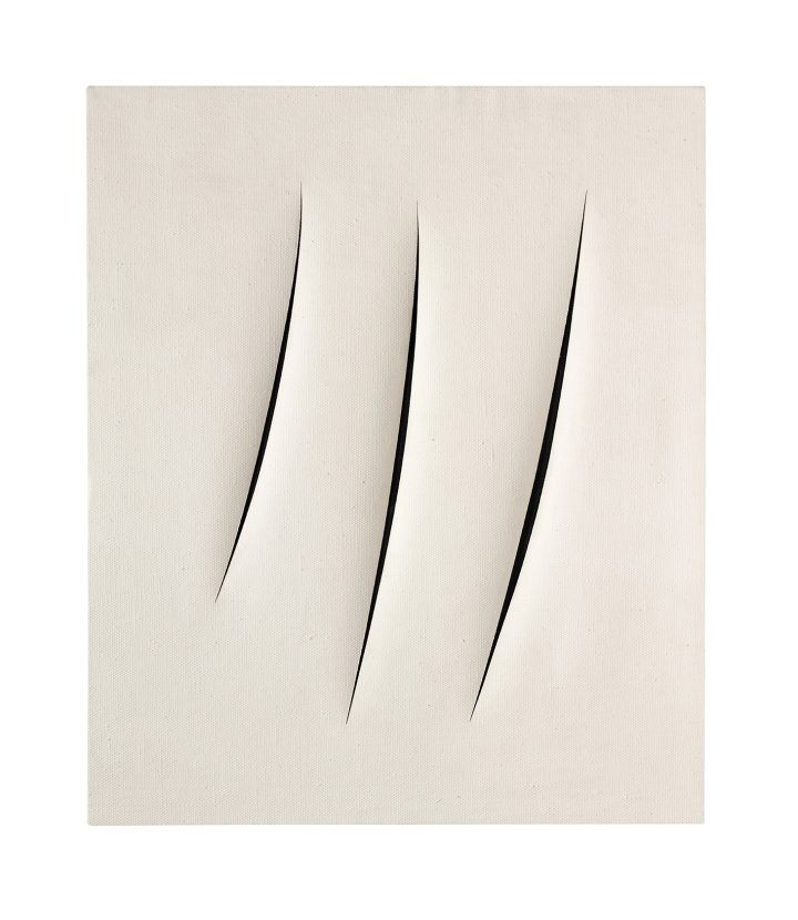 """Lucio Fontana, """"Concetto Spaziale, Attese"""" (1961), waterpaint on canvas, 21 5/8 x 18 1/8 inches (image courtesy Sotheby's)"""