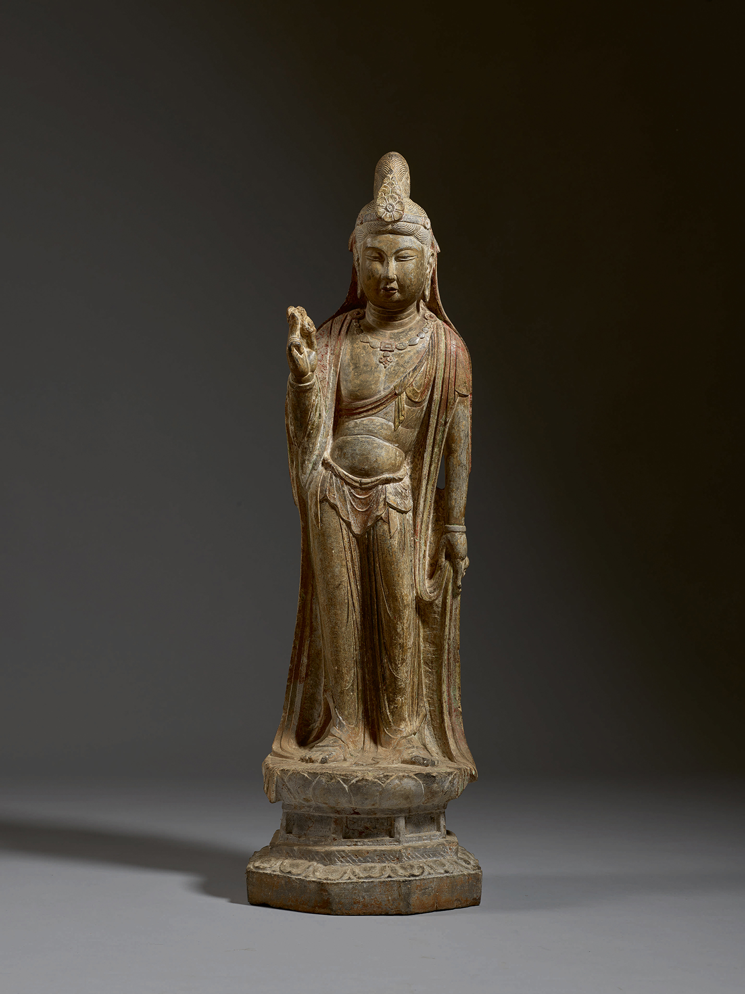 An Exceptional Large Limestone Figure of a Bodhisattva, Tang Dynasty, 39 1/2 inches (image courtesy Sotheby's)