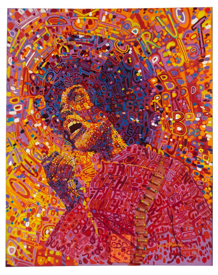 """Wadsworth A. Jarrell, """"Revolutionary (Angela Davis)"""" (1971), acrylic and mixed media on canvas, 64 x 51 in. (© Wadsworth A. Jarrell, image courtesy the Brooklyn Museum)"""