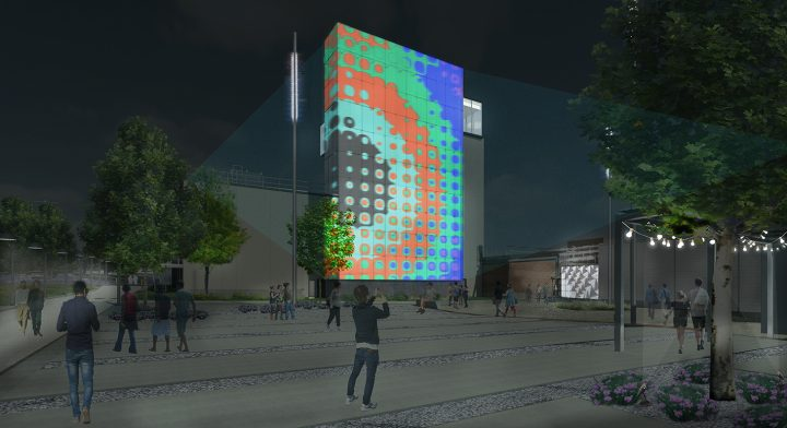 Rendering of the Momentary from Wheeler Kearns Architects, exterior South courtyard, nighttime, full projection (image courtesy Crystal Bridges Museum of American Art)