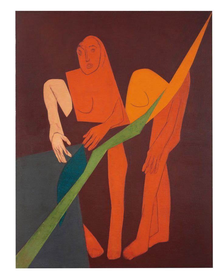 """Tyeb Mehta, """"Diagonal XV"""" (1975), oil on canvas, 66 x 51 inches (image courtesy Christie's)"""