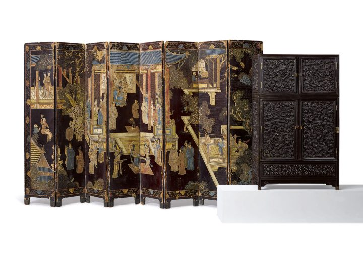 A 'Zitan' And Hardwood Tabletop Cabinet Qing Dynasty, 19th century, height 25 3/8 inches, width 15 1/4 inches, depth 7 1/2 inches (image courtesy Sotheby's)