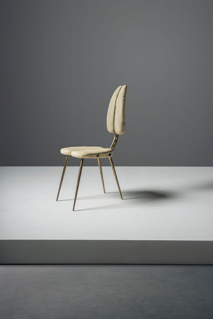 Carlo Mollino, an important 'Tipo B' side chair (1950), from a production of six chairs designed for Casa Licitra Ponti, Milan, Resinflex, brass, tubular brass, 37 3/5 high x 15 wide x 21 inches deep (image courtesy Museo Casa Mollino, Turin)