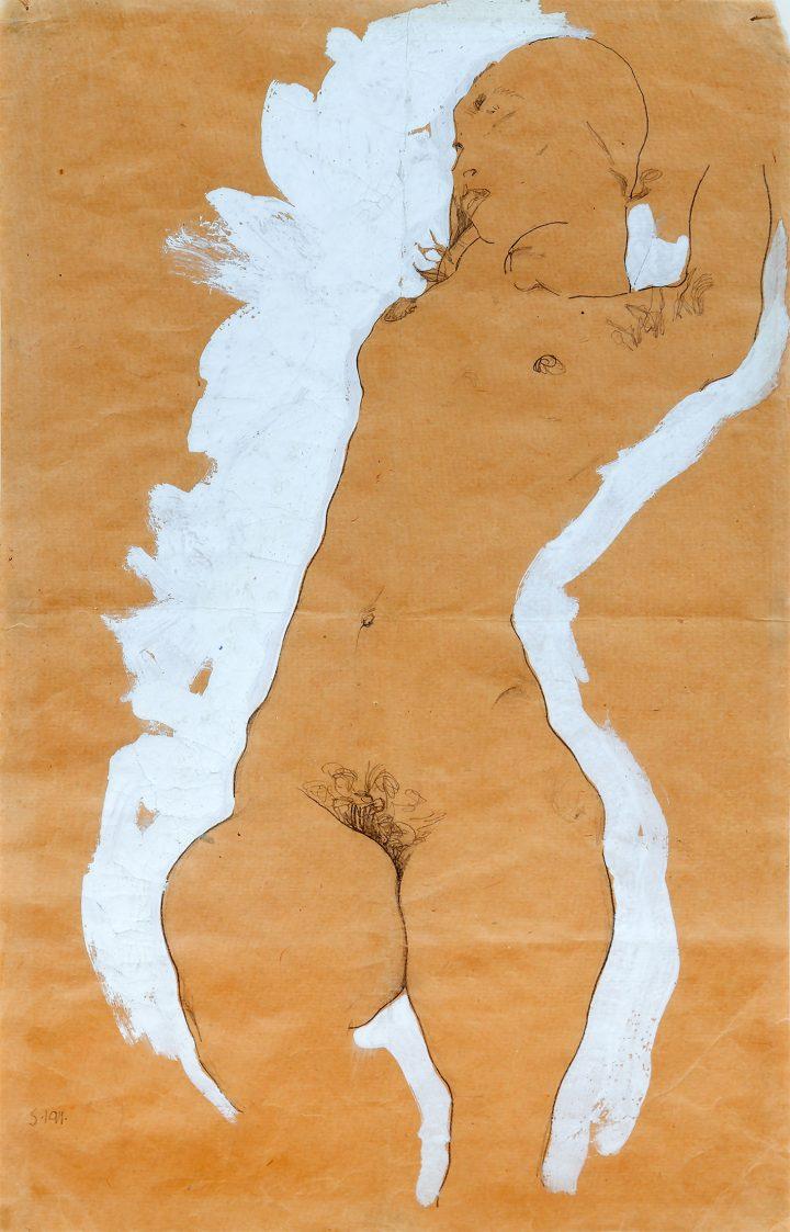 Egon Schiele's Quivering Line Tells All Artes & contextos Egon Schiele Female Nude with White Border 1911 Go copy