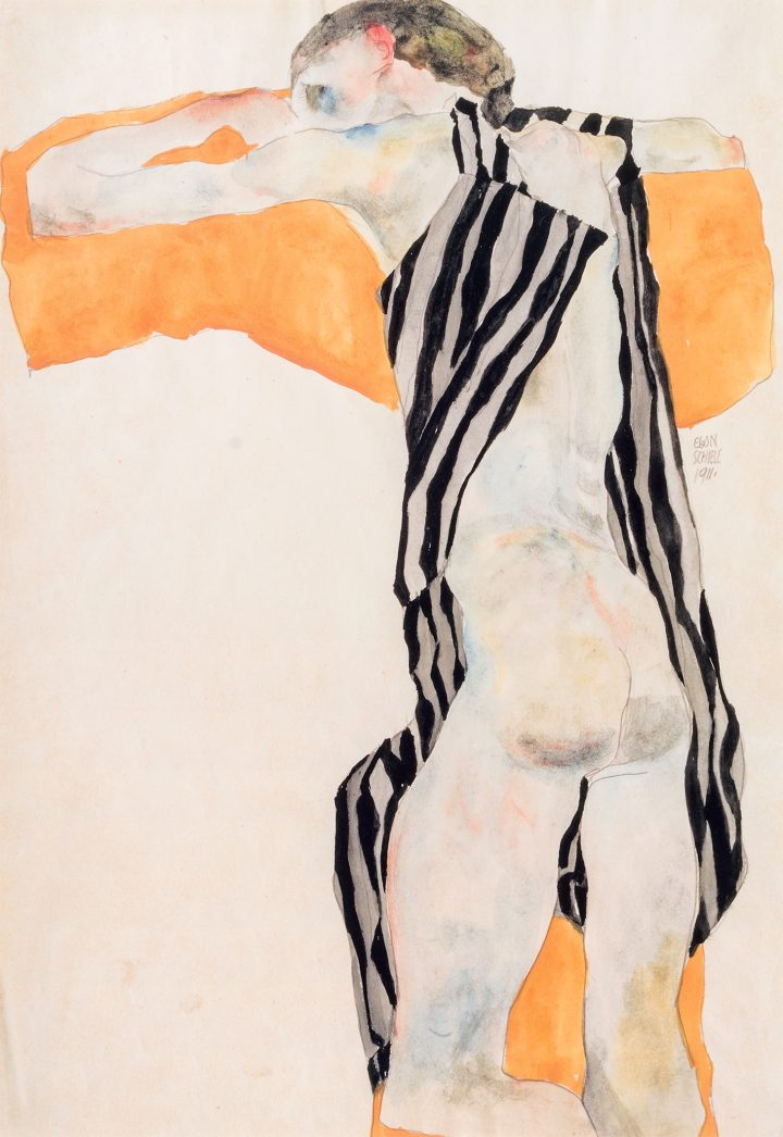 Egon Schiele's Quivering Line Tells All Artes & contextos Egon Schiele Reclining Nude Girl in Striped Smock copy
