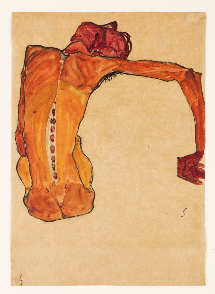 Egon Schiele's Quivering Line Tells All Artes & contextos Egon Schiele Seated Male Nude Back View 1910 Water copy