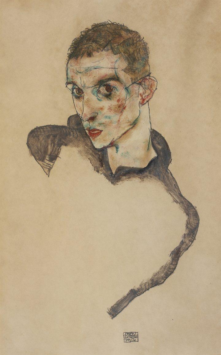 Egon Schiele's Quivering Line Tells All Artes & contextos Egon Schiele Self Portrait 1914 Gouache watercolor and pencil on paper 47 306 cm mer Ko Picture Hadiye Cangke copy