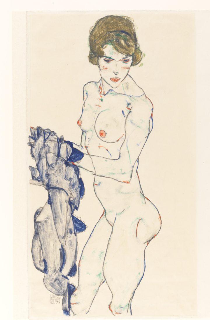 Egon Schiele's Quivering Line Tells All Artes & contextos Egon Schiele Standing Female Nude with Blue Cloth copy