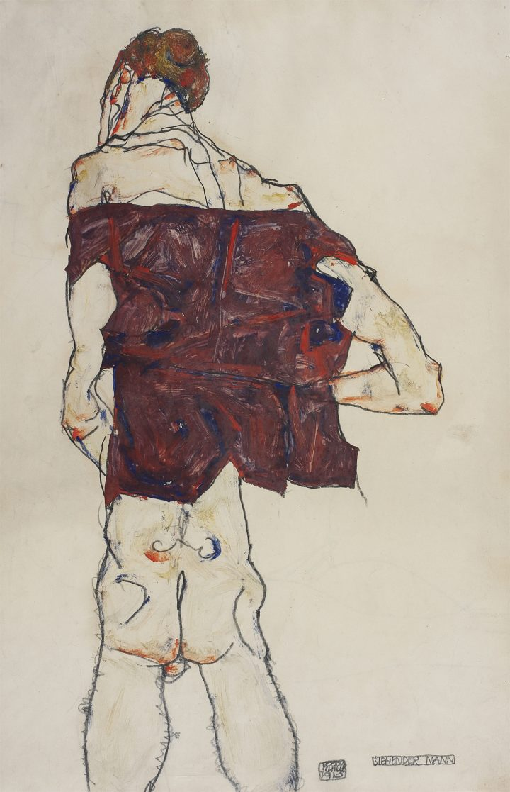 Egon Schiele's Quivering Line Tells All Artes & contextos Egon Schiele Standing Man 1913 Gouache watercolor and pencil on paper 481 318 cm mer Ko Picture Hadiye Cangke copy
