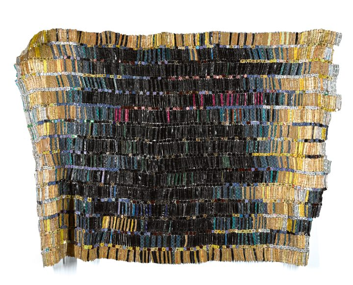 """El Anatsui, """"Ghanaian Tagomizor"""" (2005), aluminum bottle caps and copper wire, 61 by 85 inches (image courtesy Sotheby's)"""
