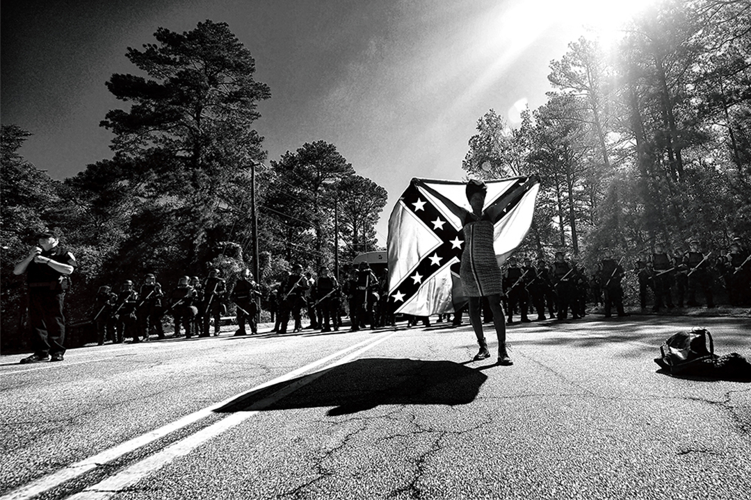 "Sheila Pree Bright, Protesting White Nationalists at the ""White Power"" March in Stone Mountain Park, 2016. Atlanta, Georgia"