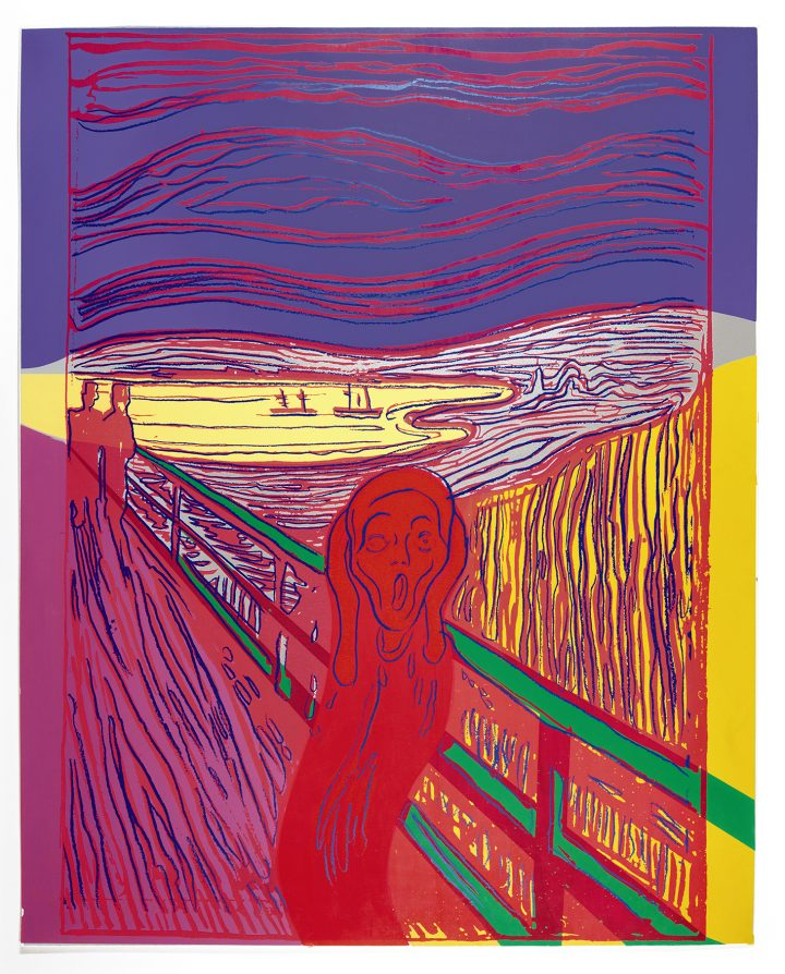 """Andy Warhol, """"The Scream (After Munch)"""" (1984), screenprint in a unique combination of colors, 40 x 32 inches (image courtesy Sotheby's)"""