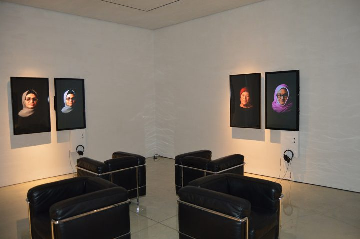 <em>Cairo Stories</em> video stills, installation view (all images by the author for Hyperallergic)