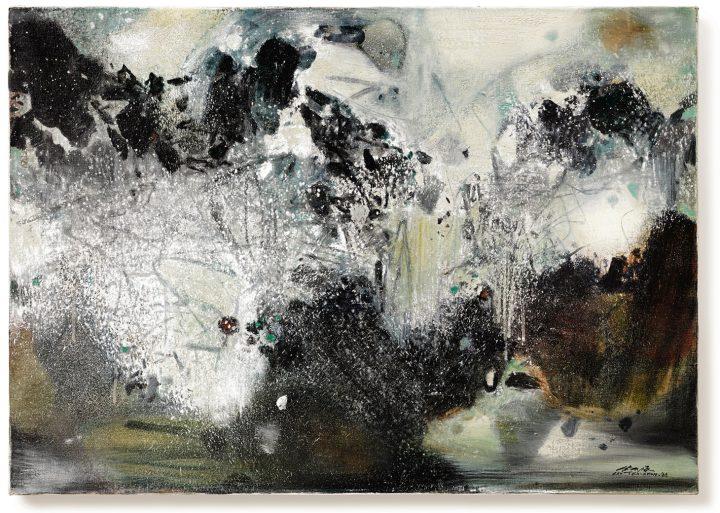 """Chu Teh-Chun, """"Frimas II"""" (1986), oil on canvas, 25 ⅝ x 36 ¼ inches (image courtesy Sotheby's)"""