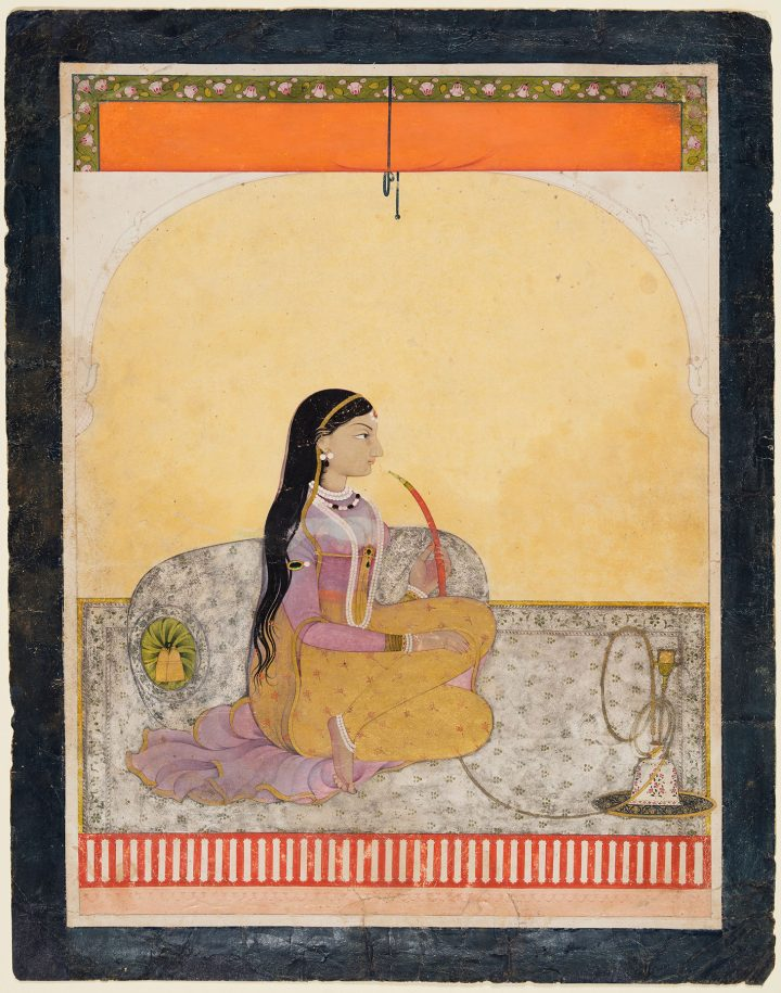 """""""Seated Lady Smoking a Hookah"""" (c. 1780), Northern India, Himachal Pradesh, Pahari Kingdom of Guler, opaque watercolor and gold on paper, 12 11/16 x 10 inches (purchase and partial gift from the Catherine and Ralph Benkaim Collection; Severance and Greta Millikin Purchase Fund; image courtesy Cleveland Musem of Art)"""