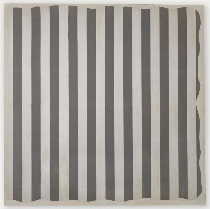 """Daniel Buren, """"Peinture aux formes variables"""" (1966), paint on cotton cloth with white and grey stripes, alternating and vertical, of 8.7 centimeters wide each, 74 ¾ x 74 3/8 inches (image courtesy Christie's)"""