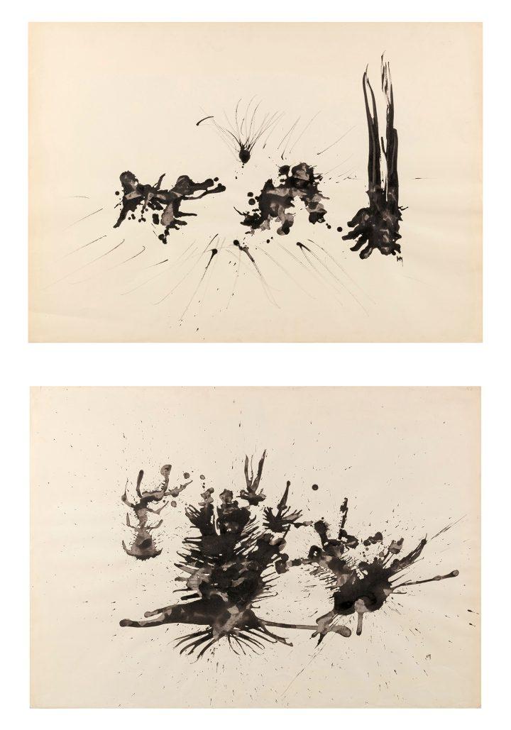 "Henri Michaux, ""Trois Grandes Tâches, Passion Végétale [2 Oeuvres]"" (1954-55), India ink on paper (image courtesy Sotheby's)"