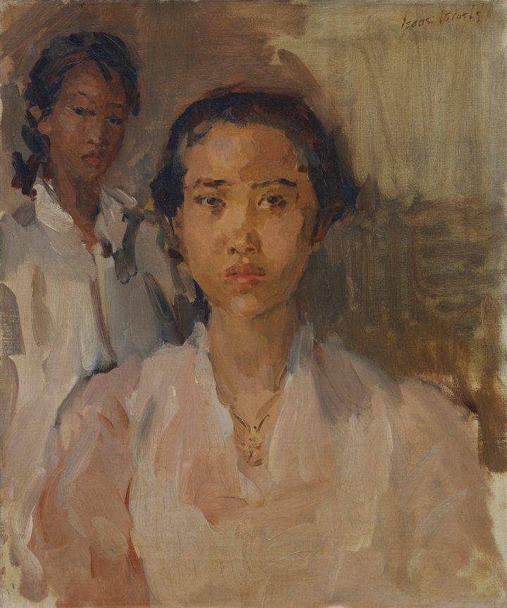 """Isaac Israels, """"Two Javanese Ladies,"""" oil on canvas, 23 1/2 x 19 3/4 inches (image courtesy Sotheby's)"""