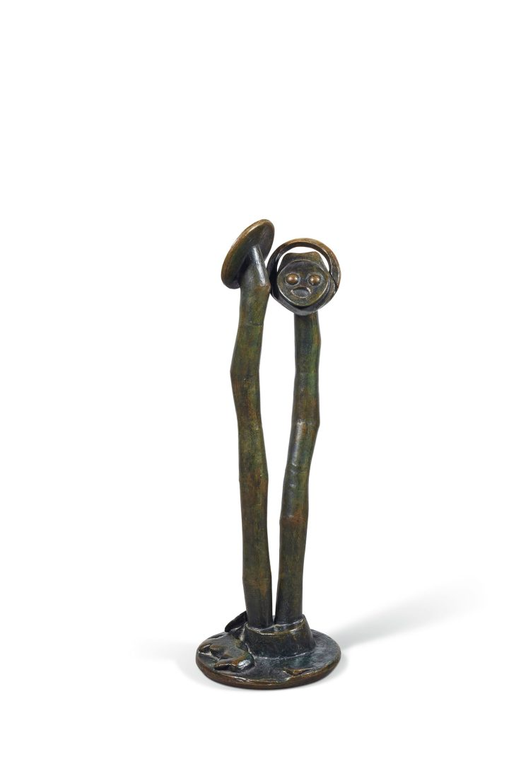 "Max Ernst, ""Âmes-sœurs"" (1961), brown patina, bronze green, height: 36 inches (image courtesy Christie's)"