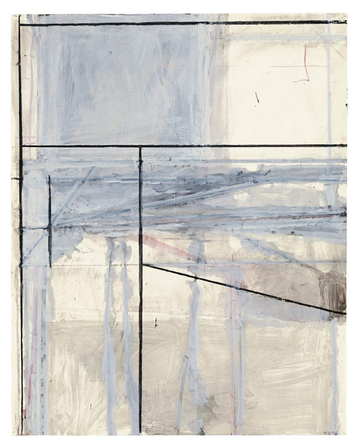 """Richard Diebenkorn, """"Untitled (Ocean Park)"""" (1971), acrylic, gouache, and charcoal on two joined sheets of paper, 29 x 23 inches (image courtesy Christie's Images Ltd., 2018)"""