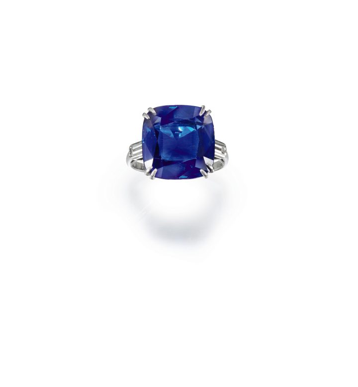 Chaumet, sapphire and diamond ring (1930s), claw-set with a cushion-shaped sapphire weighing 12.83 carats, to baguette diamond shoulders, size 48, signed Chaumet, French assay marks for platinum and partial maker's mark, gross weight approximately 5.84 grams (image courtesy Sotheby's)