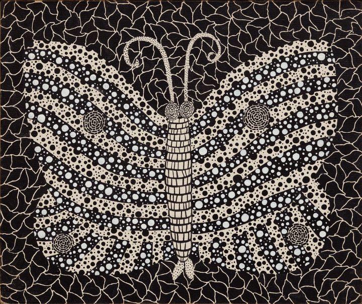 """Yayoi Kusama, """"Butterfly"""" (1982), acrylic on canvas 14 7/8 x 17 7/8 inches (image courtesy Phillips)"""