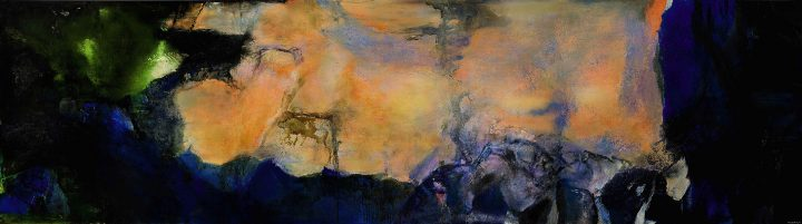 """Zao Wou-Ki, """"Juin-Octobre"""" (1985), oil on canvas (triptych), 110 ¼ x 393 ¾ inches (image courtesy Sotheby's)"""