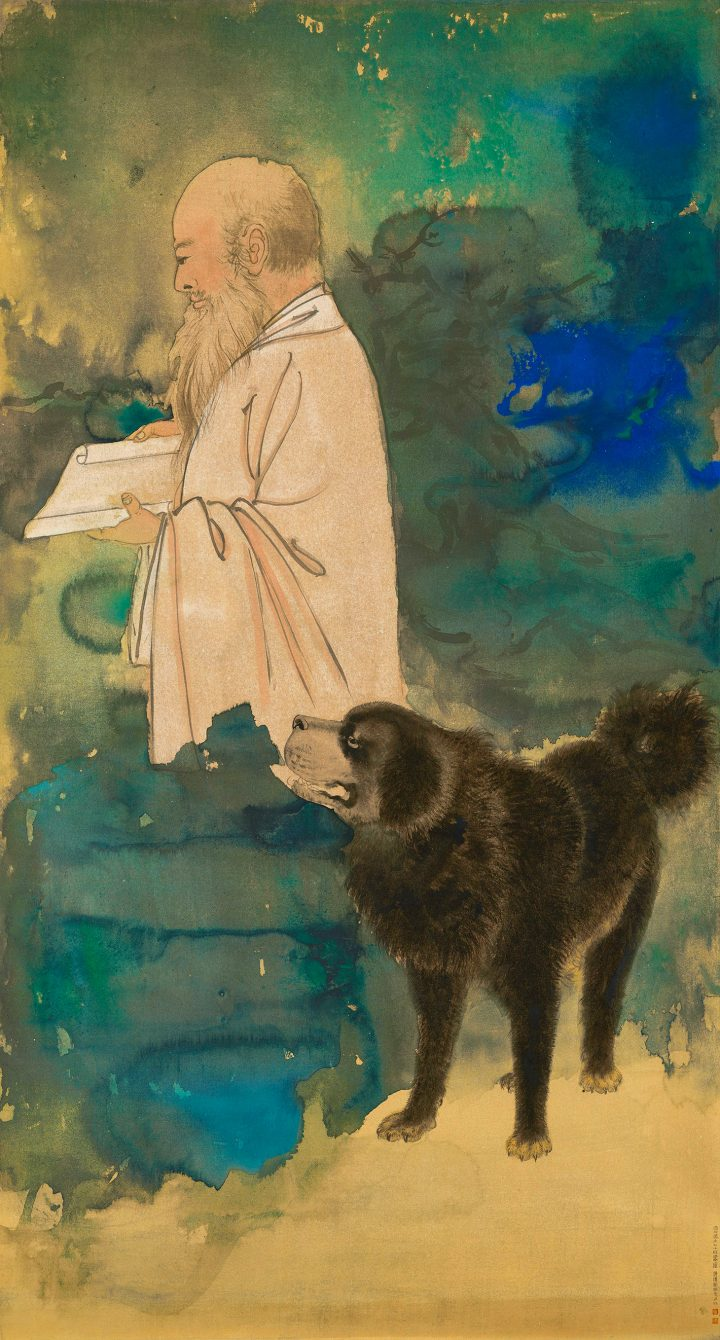 """Zhang Daqian (Chang Dai-chien), """"Self Portrait With a Tibetan Mastiff,"""" annotation on painting and brocade cover by the owner of Chai Sian Kwan Collection, and with one seal of his splashed ink and color on gold paper, framed, 69 1/4 x 37 3/4 inches (image courtesy Sotheby's)"""