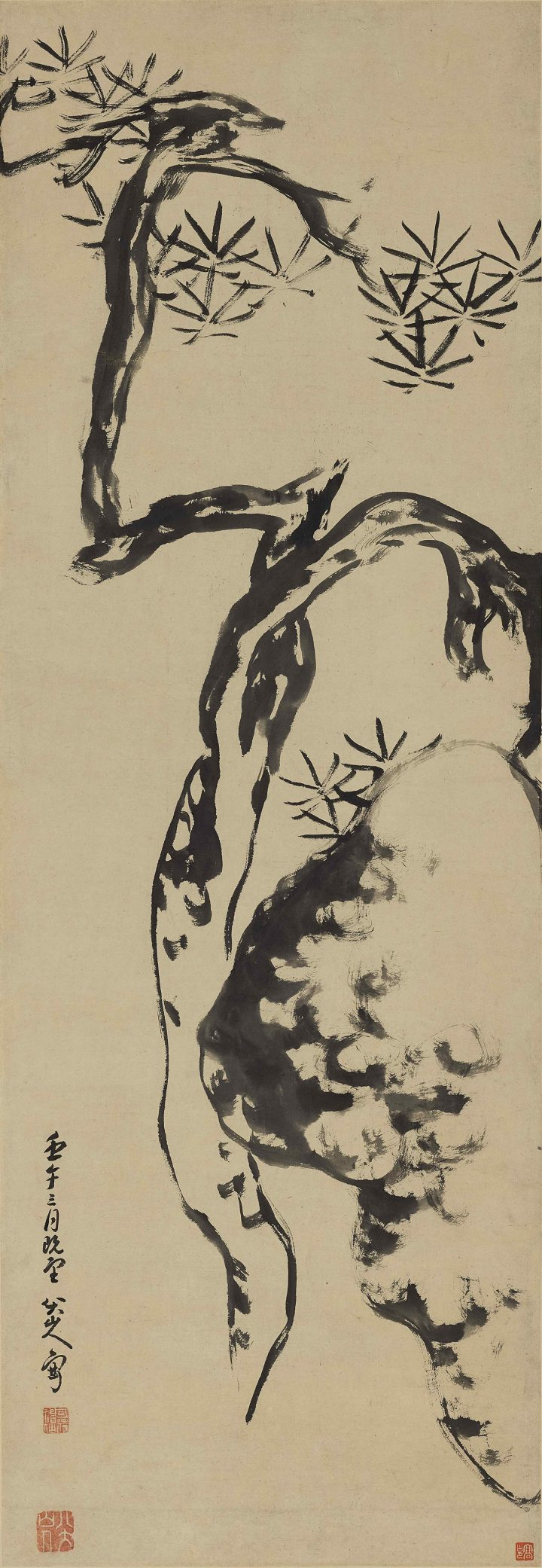 """Bada Shanren (Zhu Da), """"Pine Tree and Rock"""" (1702), ink on paper, hanging scroll, 52 x 18 inches (image courtesy Sotheby's)"""