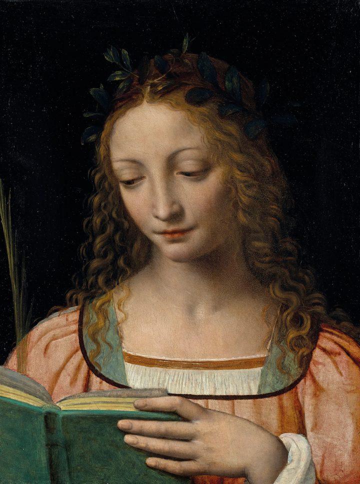 """Bernardino Luini, """"Une figure de sainte, en buste, avec une palme et lisant les Ecritures,"""" oil on panel, 15 3/4 x 11 3/4 inches (image courtesy Christie's)"""