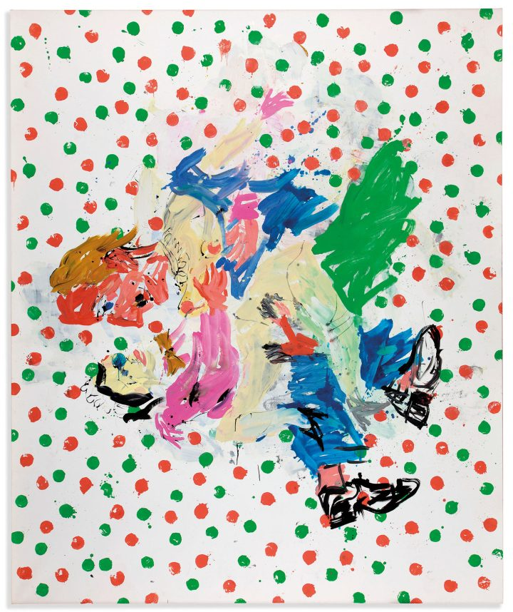 """Georg Baselitz, """"Sujet populaire contraire (Contrary Popular Subject)"""" (2007), oil on canvas, 300 x 250 centimeters (image courtesy Christie's)"""