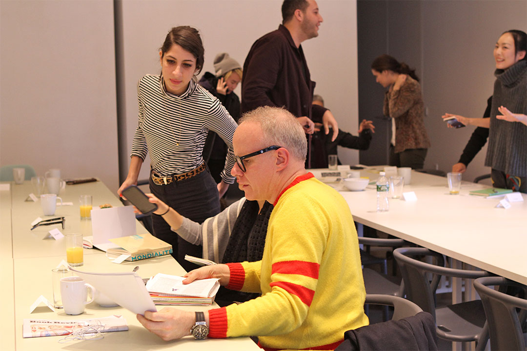 Hans Ulrich Obrist with fellows of the MA Curatorial Practice program at SVA. Photo by Birdie Piccininni.