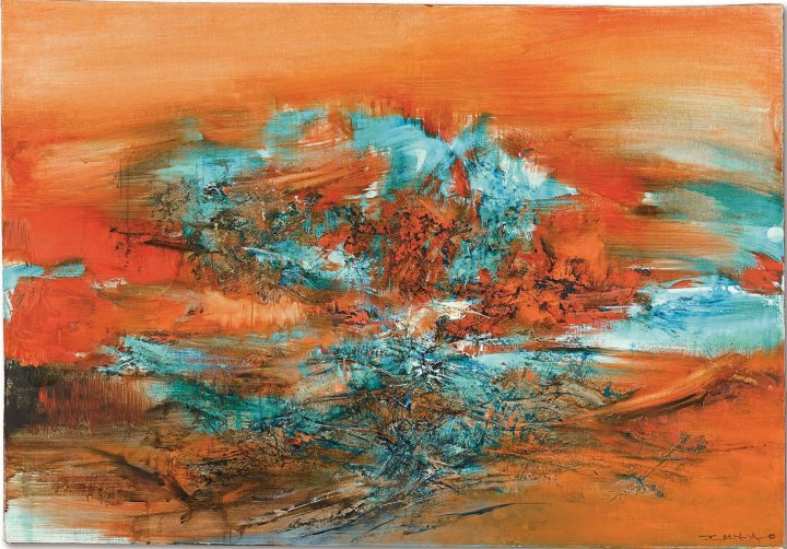 """Zao Wou-Ki, """"10.1.68"""" (1968), oil on canvas, 32 1/4 x 46 inches (image courtesy Sotheby's)"""