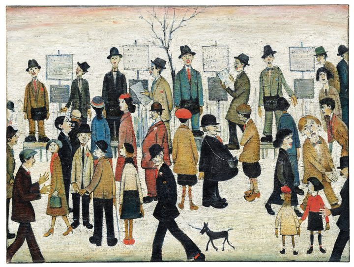 "Laurence Stephen Lowry, R.A., ""A Northern Race Meeting"" (1956), oil on canvas, 30 x 40 inches (image courtesy Christie's)"