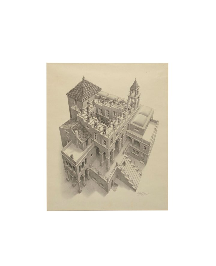 """Maurits Cornelis Escher, """"Ascending and Descending"""" (1960), lithograph, on smooth wove paper (image courtesy Christie's)"""