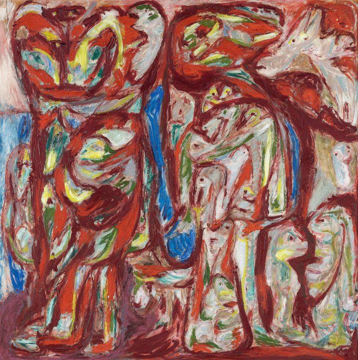 "Asger Jorn, ""Myr og Mo (Myra and Mo )"" (1950–1952), oil on plywood, 122 x 122 centimeters (image courtesy Christie's)"