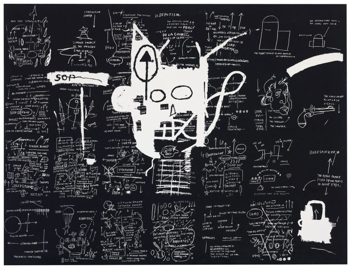 "Jean-Michel Basquiat, ""Untitled"" (1983), silkscreen ink on canvas, 57 1/2 x 75 1/2 inches (image courtesy Christie's)"